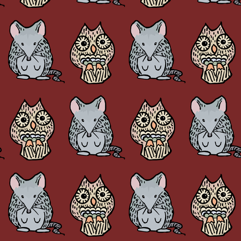 A Mouse and an Owl II. fabric by pond_ripple on Spoonflower - custom fabric