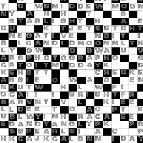 Black and White Word Puzzle fabric by zoebrench on Spoonflower - custom fabric