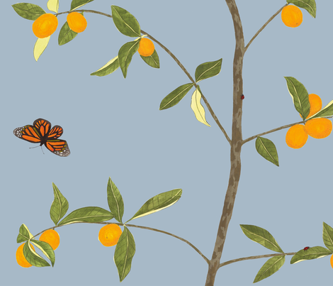 Jenny kumquat in pond fabric by domesticate on Spoonflower - custom fabric