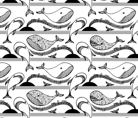 Musical Whales fabric by havemorecake on Spoonflower - custom fabric