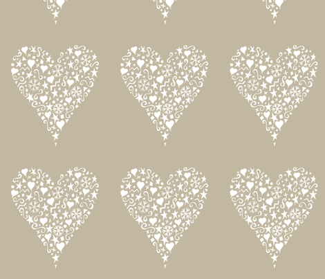 ornate_heart_white fabric by karenmayo on Spoonflower - custom fabric