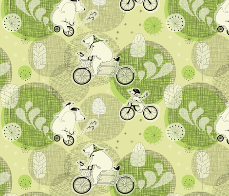 "BIKE DAY in ""MOSS"" fabric by trcreative on Spoonflower - custom fabric"