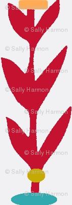 Vertical Red Leaf Stripes