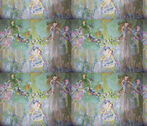 Blue belle Fairies fabric by myartself on Spoonflower - custom fabric