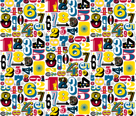 Woodtype Numbers || letterpress wood type typography western circus primary colors fabric by pennycandy on Spoonflower - custom fabric