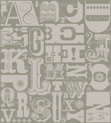 Woodtype Alphabet (Mono Gray) || letterpress wood type typography western circus alphabet monochromatic grey