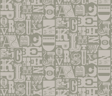 Woodtype Alphabet (Mono Gray) || letterpress wood type typography western circus alphabet monochromatic grey fabric by pennycandy on Spoonflower - custom fabric