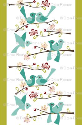 Spring Blossoms - Green stripe