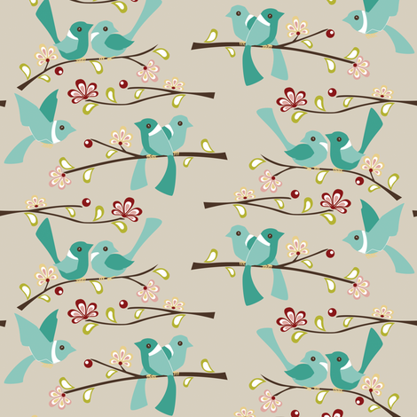 Spring Blossoms - Tan fabric by ttoz on Spoonflower - custom fabric
