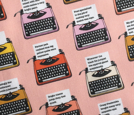 Pangram Typewriters* (Peach Halves) || vintage retro typewriters text typography poetry geek office