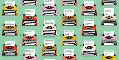 Pangram Typewriters* (Green Stamps) || vintage retro typewriters text typography poetry geek office