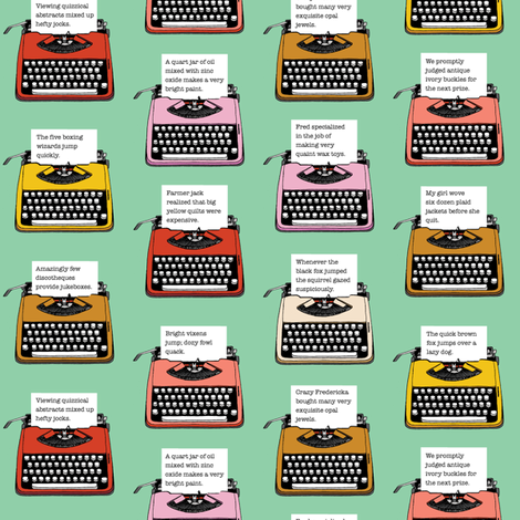 Pangram Typewriters* (Green Stamps) || vintage retro typewriters text typography poetry geek office fabric by pennycandy on Spoonflower - custom fabric