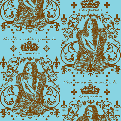 Compassion / aqua and coco fabric by paragonstudios on Spoonflower - custom fabric
