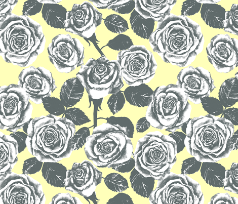 Yellow and Grey Roses fabric by twobloom on Spoonflower - custom fabric