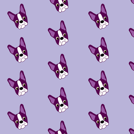 Puppy Passion the Purple Boston Terrier  fabric by missyq on Spoonflower - custom fabric