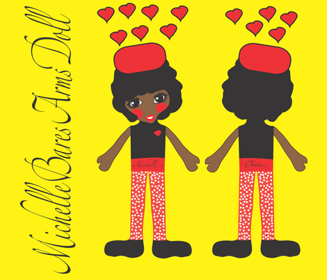 michelle obama finished doll fabric by orangefancy on Spoonflower - custom fabric