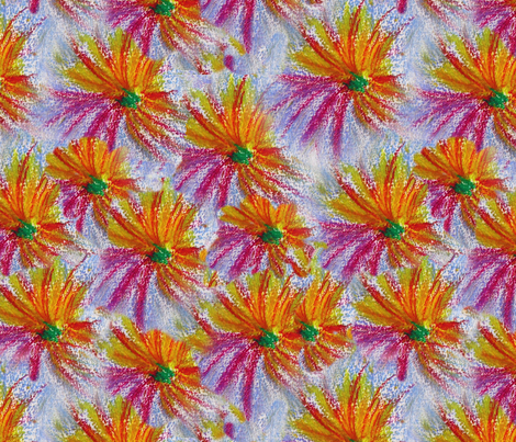 Pastel_drawing_massed_flowers fabric by gallimaufry on Spoonflower - custom fabric
