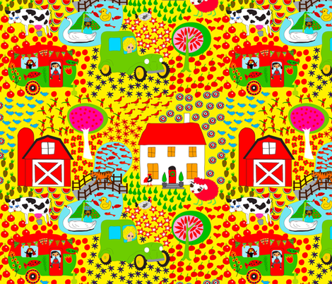 Happy Farm fabric by orangefancy on Spoonflower - custom fabric