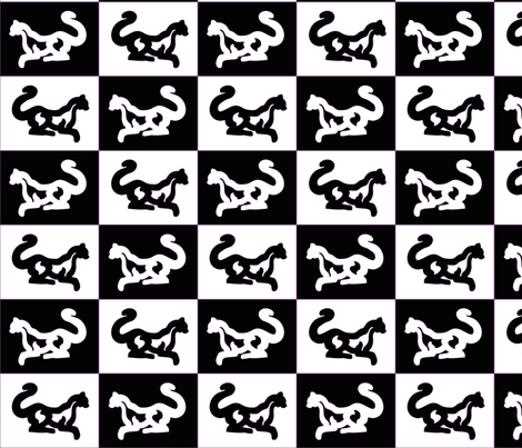 Counterchange_Cats_black-white_purple-outlines fabric by mina on Spoonflower - custom fabric