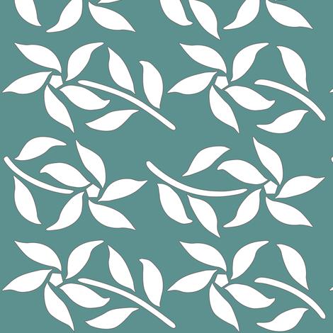 4_Flowers_white_MINAGREEN fabric by mina on Spoonflower - custom fabric