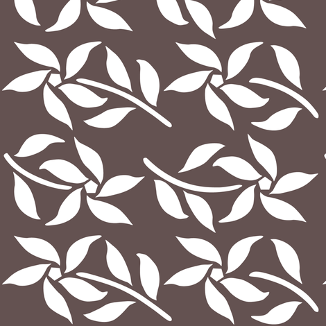 4_Flowers_white_BROWN fabric by mina on Spoonflower - custom fabric