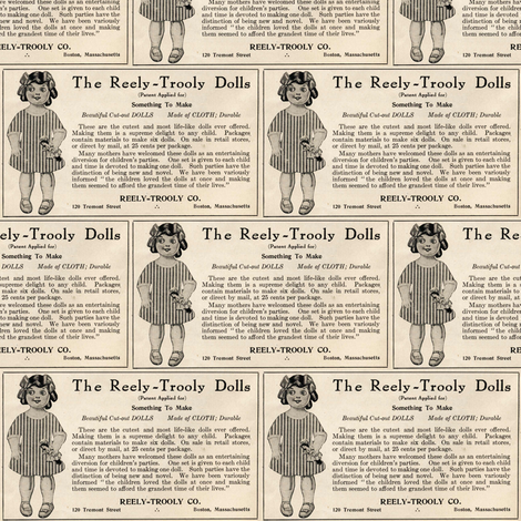 1915 Reely Trooly doll advertisement fabric by edsel2084 on Spoonflower - custom fabric