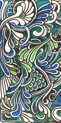 lime and teal In the koi pond