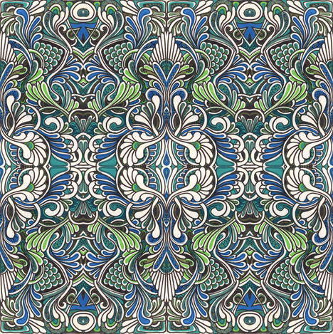 lime and teal In the koi pond fabric by edsel2084 on Spoonflower - custom fabric