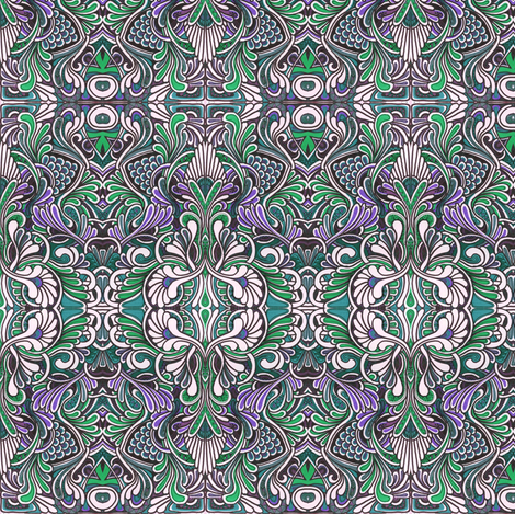 Purple koi pond reflections (small scale) fabric by edsel2084 on Spoonflower - custom fabric