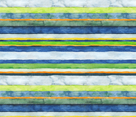 Green Wheels Multicolored Stripes fabric by fussypants on Spoonflower - custom fabric