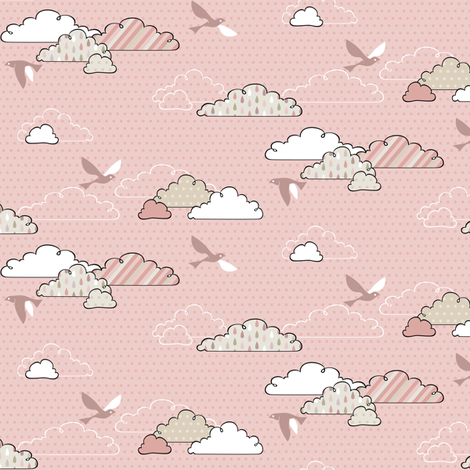 If By Air - In Flight, Light Pink fabric by ttoz on Spoonflower - custom fabric