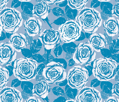Weathered Country Roses (Blue) fabric by twobloom on Spoonflower - custom fabric