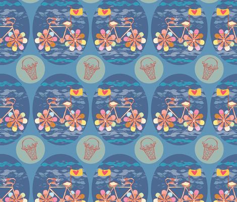 CREAM-CYCLE! fabric by gsonge on Spoonflower - custom fabric