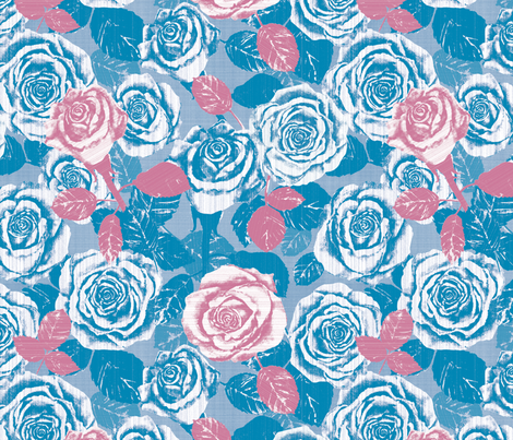 Splash of Pink Country Roses fabric by twobloom on Spoonflower - custom fabric