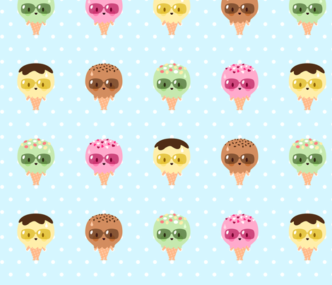 Kawaii Ice Cream Friends fabric by petitspixels on Spoonflower - custom fabric