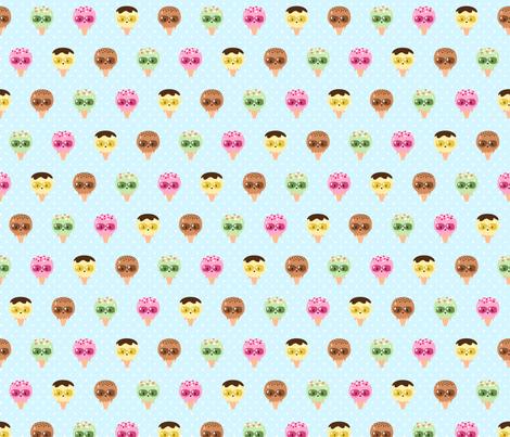 Kawaii Ice Cream Friends fabric by petitspixels on Spoonflower - custom fabric