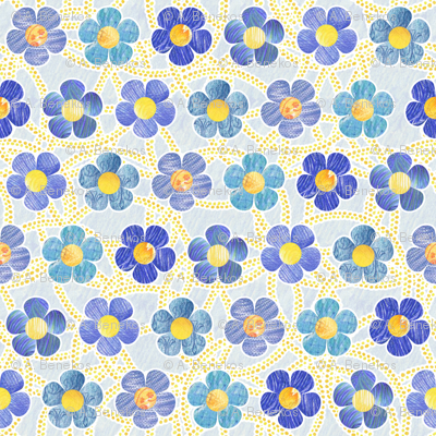 Blue Patterned Flowers