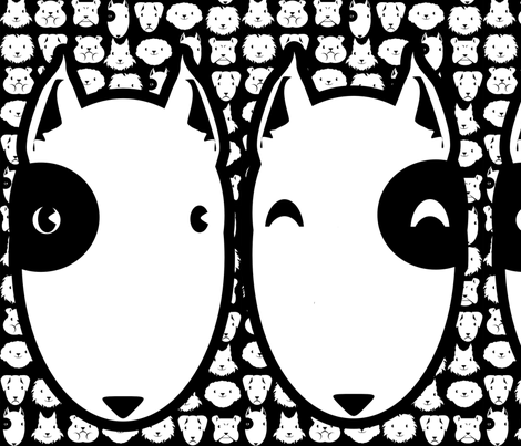 Pillow head Bull Terrier FQ fabric by kobaitchi on Spoonflower - custom fabric