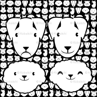 Pillow head bichon and parson FQ