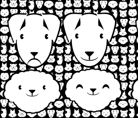 Pillow head bichon and parson FQ fabric by kobaitchi on Spoonflower - custom fabric