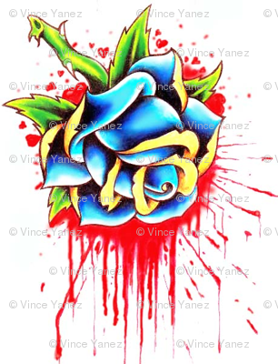 bleeding rose tattoo design by ravenkiokoshietu wallpaper bravosghost spoonflower. Black Bedroom Furniture Sets. Home Design Ideas
