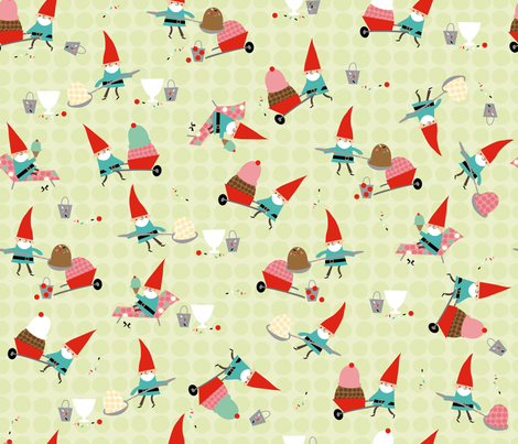 Gnomes Diggin' Ice Cream fabric by cynthiafrenette on Spoonflower - custom fabric