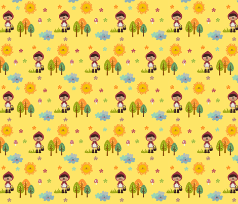 Little Red Riding Hoods in the forest fabric by sawabona on Spoonflower - custom fabric