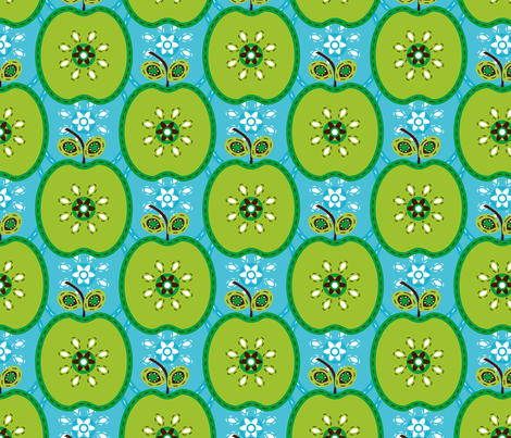 Sky Blue Apple fabric by zoebrench on Spoonflower - custom fabric