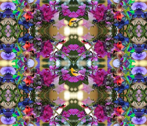 Birds and flowers, MANDALA fabric by rubyrice on Spoonflower - custom fabric