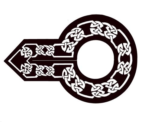 celtic collar 1 white on black fabric by ingridthecrafty on Spoonflower - custom fabric