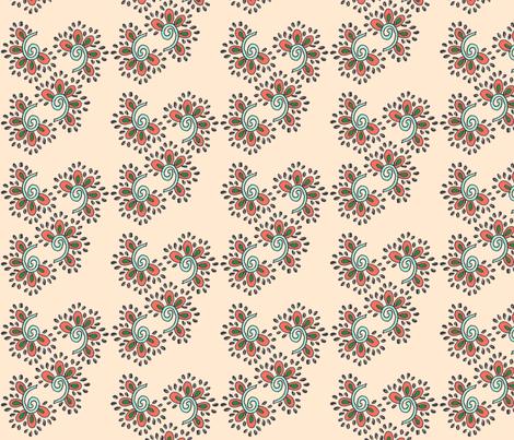 Swirling Flowers Peach fabric by createdgift on Spoonflower - custom fabric