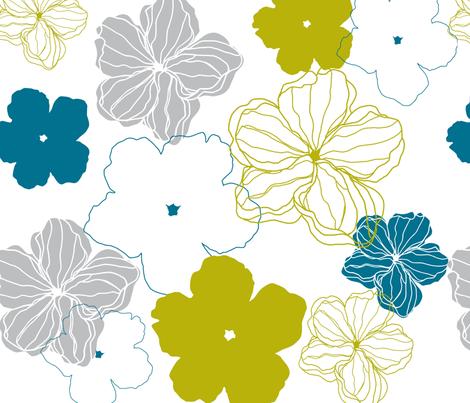 Camellia Flower in blue moss fabric by lana_kole on Spoonflower - custom fabric