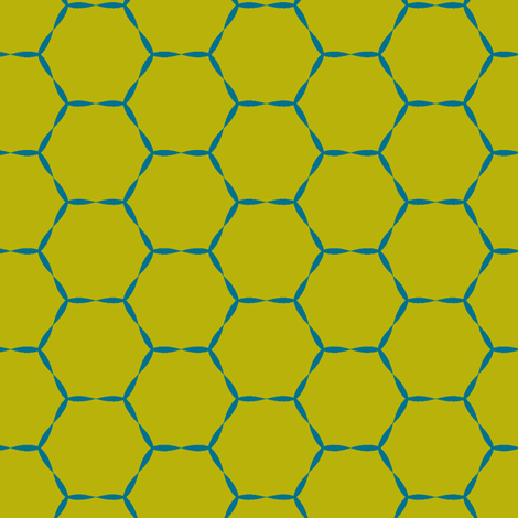 Honey Hive in blue moss fabric by lana_kole on Spoonflower - custom fabric
