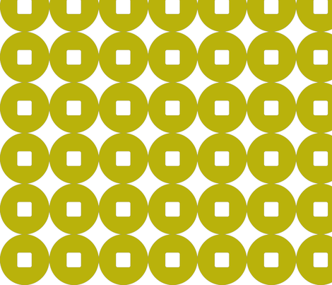 Lucky Coins in yellow moss fabric by lana_kole on Spoonflower - custom fabric